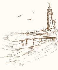 pejzaż morski z latarnią morską