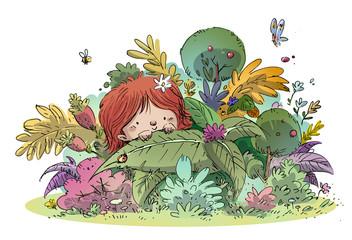 niño entre plantas y flores