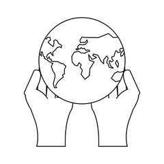 hands with earth planet over white background, vector illustration