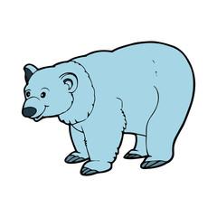 Polar Bear cartoon illustration isolated on white background for children color book