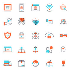 set of popular business or finance icon, with simple thin line and unique color editable stroke, use for web and presentation pictogram asset , website, marketing, ecommerce, startup, outline,