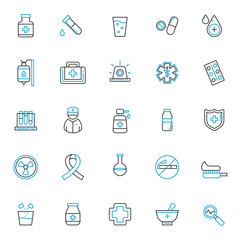 set of medical icons, with blue thin line, editable stroke, use for healthcare or hospital web icon asset and pictogram presentation, herbal, medicine, medic, medical illustration.