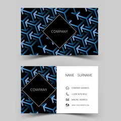 Modern business card template design. With inspiration from abstract line. Two sided black and blue on the gray background. Vector illustration.