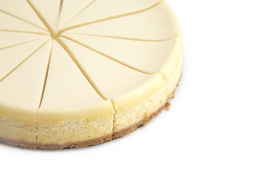 Plain New York Style Cheese Cake on a White Background