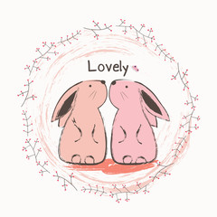 Cute bunny and butterfly. Cartoon hand drawn vector illustration
