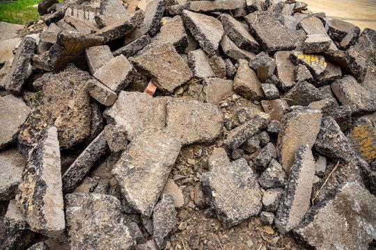 fragments of broken asphalt