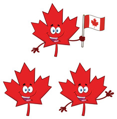 Canadian Red Maple Leaf Cartoon Mascot Character Set 1. Vector Collection Isolated On White Background