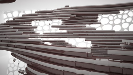 Abstract white and brown interior multilevel public space with window. 3D illustration and rendering.