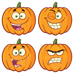 Pumpkin Vegetables Cartoon Emoji Face Character Set 1. Vector Collection Isolated On White Background