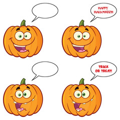 Pumpkin Vegetables Cartoon Emoji Face Character Set 2. Vector Collection Isolated On White Background