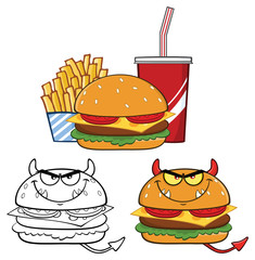 Devil Burger Cartoon Character Design. Vector Collection Set Isolated On White Background