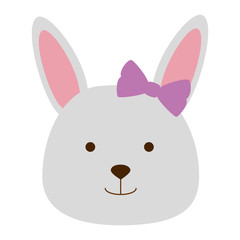 cute female rabbit head character icon vector illustration design