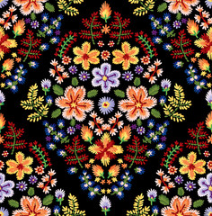 Vector seamless embroidery pattern, decorative textile ornament, pillow decor. Bohemian handmade style background design.