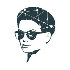 Portrait of beautiful woman wearing sunglasses. Half turn view. Silhouette textured by lines and dots pattern