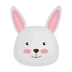 cute rabbit head character icon vector illustration design