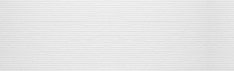 Panorama of Modern white stone wall pattern and background
