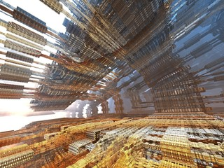 futuristic digital 3d art fractal illustration - look in the infinity