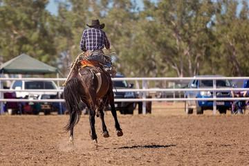 Cowboy Riding A Bucking Horse