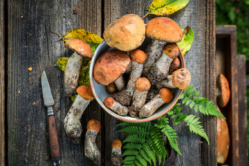 Top view of fresh wild mushrooms on wooden table