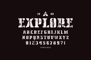 Decorative stencil-plate serif font