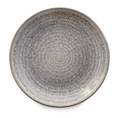 Round Gray Stoneware Plate Isolated Top View