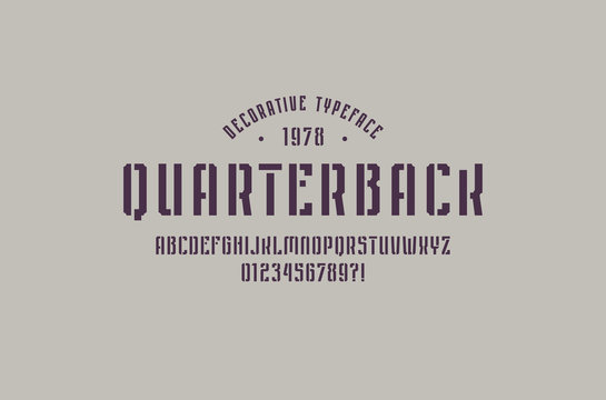 Stencil-plate narrow sans serif font in sport style
