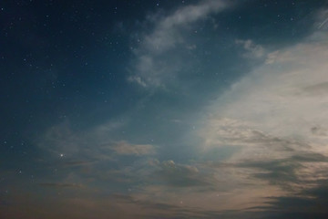 Night sky view with shining stars and the clouds