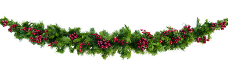 Christmas Garland with Red Berries Isolated on White Fotobehang