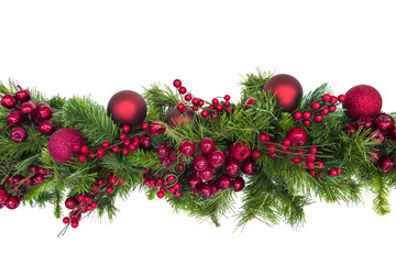 Christmas Garland with Red Berries and Baubles Isolated on White