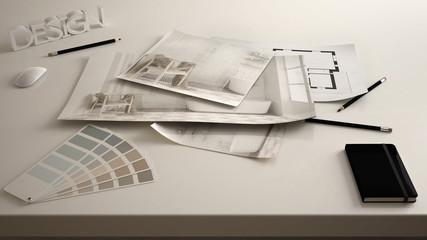 Architect designer concept, table close up with interior renovation draft, bathroom interior design blueprint drawings, sample color palette, white creative desk background