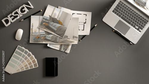 architect designer concept dark work desk with computer paper