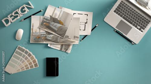 architect designer concept blue work desk with computer paper