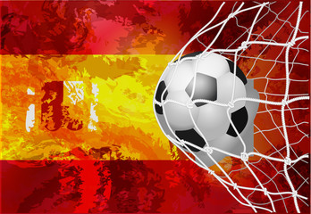 Soccer ball with a grunge flag of Spain.