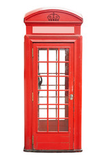 red telephone cabin in London city. isolated on white