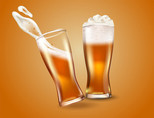 Glass cup with beer, ads soap beer attractive beer mockup in 3d template stock illustration