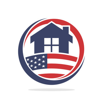 icon illustration conceptualizing the development of property construction business, with the spirit of American nationality.