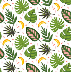 Hand drawn vector abstract cartoon summer time graphic illustrations seamless pattern with banana fruits and tropical palm leaves isolated on white background