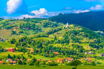 Pregrada Zagorje region Croatia. / Scenic view at amazing landscape in Pregrada, small town in Zagorje region, Croatia.