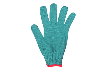 Green gloves isolated