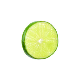Half lime isolated on white with clipping path