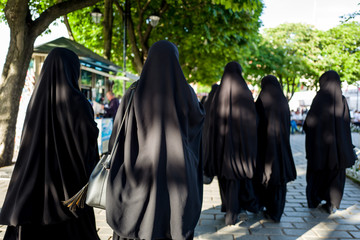 Muslim women in burka walking the streets of Sultanahmed, Istanbul.