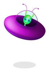Green alien with flying saucer on white background. Little green man from Mars with purple saucer. Extraterrestrial and UFO, an unidentified flying object. Isolated illustration. Vector.