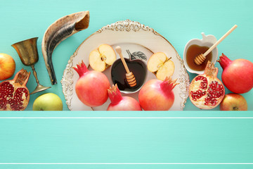 Rosh hashanah (jewish New Year holiday) concept. Traditional symbols.