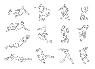 Soccer, Football Player, Movement, Sketch, Drawing, Vector and Illustration