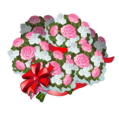 A huge bouquet of flowers tied with red ribbon with bowknot, isolated on white background. Vector illustration.