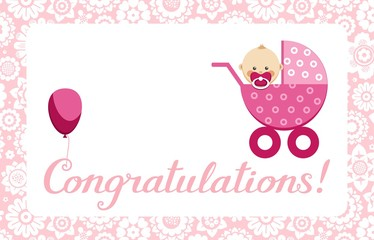 "Congratulations, newborn baby girl, postcard, English, vector. In a pink stroller sits a baby. The inscription in English "" Congratulations!""Color, flat picture."