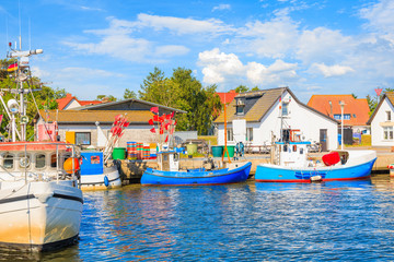 Fishing boats in Vitte port on sunny beautiful day, Hiddensee island, Baltic Sea, Germany