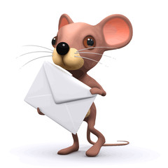 Vector 3d Funny cartoon mouse  has mail