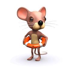 Vector 3d Funny cartoon mouse  lifesaver