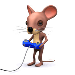 Vector 3d Funny cartoon gamer mouse